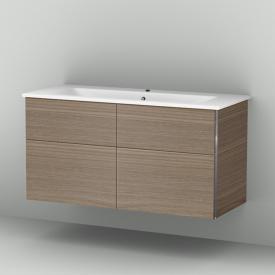 Sanipa 3way Waschtischunterschrank mit 4 Auszügen inkl. Keramik-Waschtisch Venticello Front ulme natural touch/ Korpus ulme natural touch
