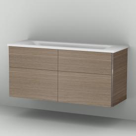 Sanipa 3way Waschtischunterschrank mit 4 Auszügen inkl. Mineralguss-Waschtisch Front ulme natural touch/ Korpus ulme natural touch
