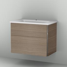 Sanipa 3way Waschtischunterschrank mit 2 Auszügen inkl. Mineralguss-Waschtisch Front ulme natural touch/ Korpus ulme natural touch