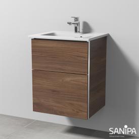 Sanipa 3way Waschtischunterschrank mit 2 Auszügen für Handwaschbecken Venticello Front kirsche natural touch/ Korpus kirsche natural touch