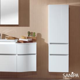 Sanipa CantoBay Mittelschrank mit 1 Tür und 2 Auszügen Front weiß glanz / Korpus weiß glanz