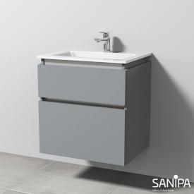 Sanipa CantoBay Waschtischunterschrank mit 2 Auszügen Front steingrau / Korpus steingrau