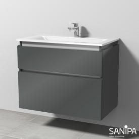 Sanipa CantoBay Waschtischunterschrank mit 2 Auszügen Front anthrazit glanz / Korpus anthrazit glanz