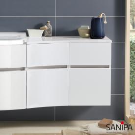 Sanipa CurveBay Anbauschrank geschwungen mit 2 Auszügen Front weiß glanz/ Korpus weiß glanz