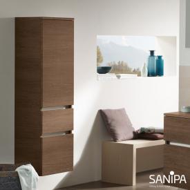 Sanipa CurveBay Mittelschrank mit 1 Tür und 2 Auszügen Front eiche santana/ Korpus eiche santana