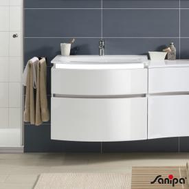 Sanipa CurveBay Waschtischunterschrank mit 2 Auszügen Front weiß glanz/ Korpus weiß glanz, mit Beleuchtung