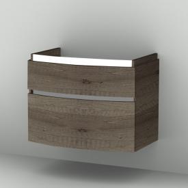 Sanipa CurveBay Waschtischunterschrank mit LED-Beleuchtung mit 2 Auszügen Front eiche nebraska / Korpus eiche nebraska