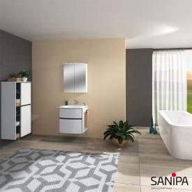 Sanipa Reflection Spiegelschrank MALTE mit LED-Beleuchtung weiß glanz