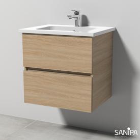 Sanipa Solo One Euphoria Waschtisch mit Waschtischunterschrank mit 2 Auszügen Front ulme impresso / Korpus ulme impresso