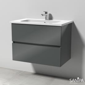 Sanipa Solo One Euphoria Keramik-Waschtisch mit Waschtischunterschrank mit 2 Auszügen Front anthrazit glanz / Korpus anthrazit glanz