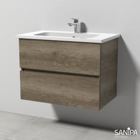 Sanipa Solo One Euphoria Keramik-Waschtisch mit Waschtischunterschrank mit 2 Auszügen Front eiche nebraska / Korpus eiche nebraska