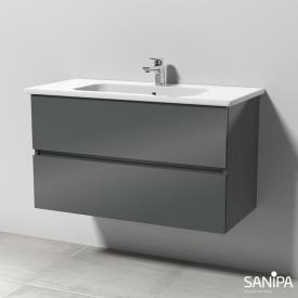 Sanipa Solo One Euphoria Waschtisch mit Waschtischunterschrank mit 2 Auszügen Front anthrazit glanz / Korpus anthrazit glanz