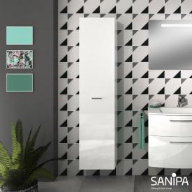 Sanipa Solo One Round Hochschrank mit 1 Tür Front weiß hochglanz / Korpus weiß hochglanz
