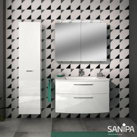 Sanipa Solo One Round Waschtisch mit Waschtischunterschrank mit 2 Auszügen Front weiß hochglanz / Korpus weiß hochglanz