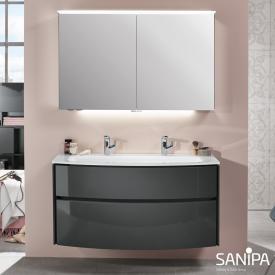 Sanipa TwigaGlas Doppelwaschtisch mit Waschtischunterschrank mit 2 Auszüge Front anthrazit glanz / Korpus anthrazit glanz