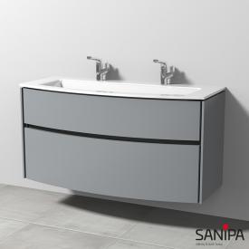Sanipa TwigaGlas Doppelwaschtisch mit Waschtischunterschrank mit 2 Auszüge Front steingrau / Korpus steingrau