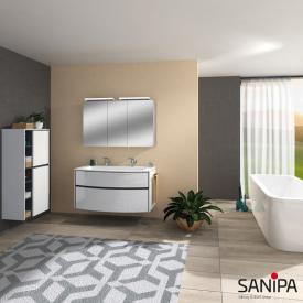 Sanipa TwigaGlas Doppelwaschtisch mit Waschtischunterschrank mit 2 Auszüge Front weiß glanz / Korpus weiß glanz