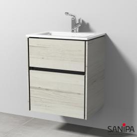 Sanipa TwigaGlas Glas-Waschtisch mit Waschtischunterschrank mit 2 Auszüge Front linde hell / Korpus linde hell