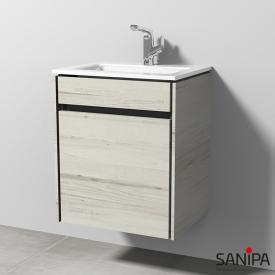 Sanipa TwigaGlas Handwaschbecken mit Waschtischunterschrank mit 1 Tür Front linde hell / Korpus linde hell