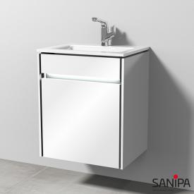 Sanipa TwigaGlas Handwaschbecken mit Waschtischunterschrank mit 1 Tür Front weiß glanz / Korpus weiß glanz