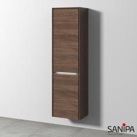 Sanipa TwigaGlas Hochschrank mit 1 Tür und 1 Wäschekippe Front eiche santana / Korpus eiche santana