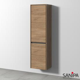 Sanipa TwigaGlas Hochschrank mit 1 Tür und 1 Wäschekippe Front eiche kansas / Korpus eiche kansas