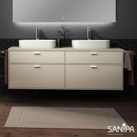 Sanipa Vindo Aufsatzwaschtische mit Waschtischunterschrank mit 4 Auszügen Front naturweiß matt / Korpus naturweiß matt, Griffe naturweiß matt