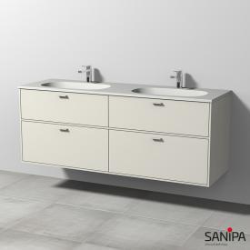 Sanipa Vindo Doppelwaschtisch mit Waschtischunterschrank mit 4 Auszügen Front naturweiß matt / Korpus naturweiß matt, Griffe naturweiß matt