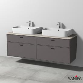 Sanipa Vindo Finion Aufsatzwaschtische mit Waschtischunterschrank mit 4 Auszügen Front kiesel matt / Korpus kiesel matt, Griffe kiesel matt