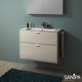 Sanipa Vindo Finion Waschtisch mit Waschtischunterschrank mit 2 Auszügen Front naturweiß hochglanz / Korpus naturweiß hochglanz, Griffe naturweiß hochglanz, mit 1 Hahnloch, mit Überlauf