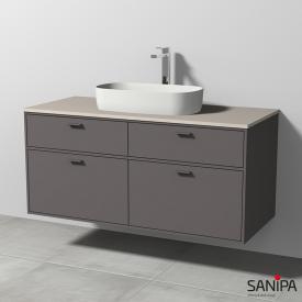 Sanipa Vindo Krita Stone Waschtisch mit Waschtischunterschrank mit 4 Auszügen Front kiesel matt / Korpus kiesel matt, Griffe kiesel matt