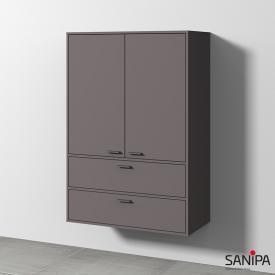 Sanipa Vindo Mittelschrank mit 2 Türen und 2 Auszügen Front kiesel matt / Korpus kiesel matt, Griffe kiesel matt