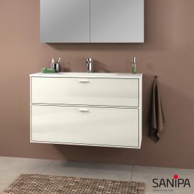 Sanipa Vindo Waschtisch mit Waschtischunterschrank mit 2 Auszügen Front naturweiß hochglanz / Korpus naturweiß hochglanz, Griffe naturweiß hochglanz