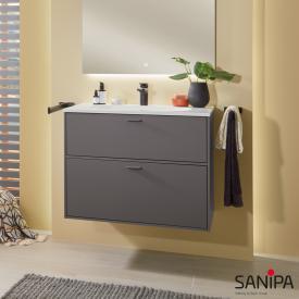 Sanipa Vindo Waschtisch mit Waschtischunterschrank mit 2 Auszügen Front kiesel matt / Korpus kiesel matt, Griffe kiesel matt