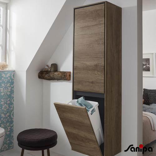 sanipa twigaglas hochschrank mit 1 t r und 1 w schekippe front pinie schwarz korpus pinie. Black Bedroom Furniture Sets. Home Design Ideas
