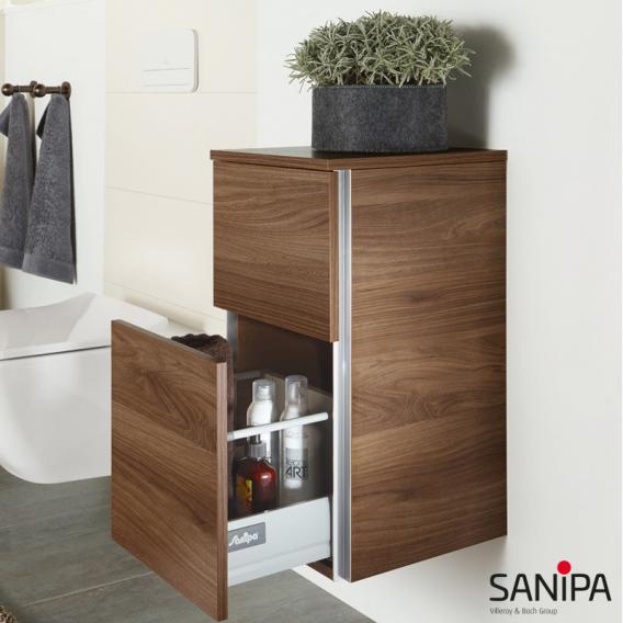 Sanipa 3way Beistellschrank mit 2 Auszügen Front weiß glanz/ Korpus weiß glanz