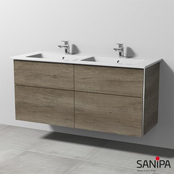 Sanipa 3way Doppelwaschtisch Venticello mit Waschtischunterschrank mit 4 Auszügen Front eiche nebraska / Korpus eiche nebraska, mit Griffleiste