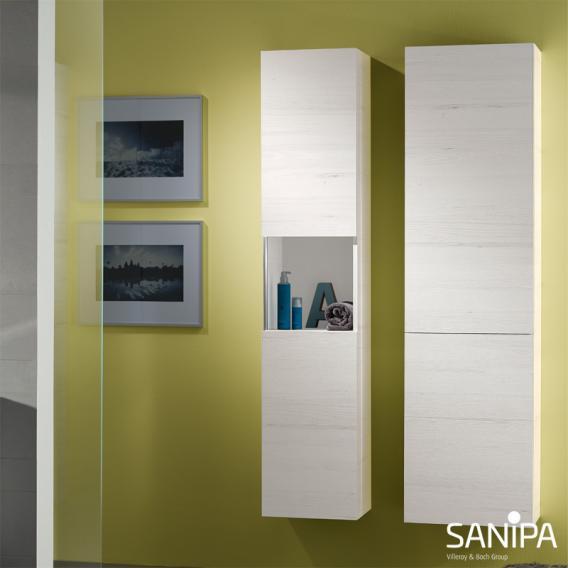 Sanipa 3way Hochschrank mit 1 Tür und 1 Wäschekippe Front weiß soft/ Korpus weiß soft mit Griffleiste