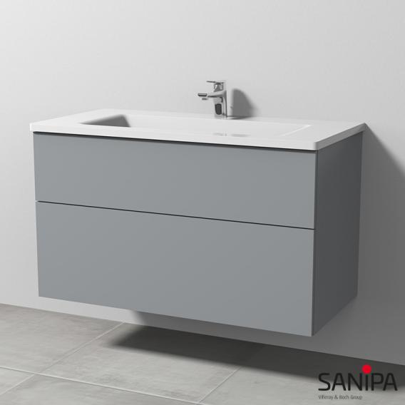 Sanipa 3way Waschtisch mit Waschtischunterschrank mit 2 Auszügen Front steingrau / Korpus steingrau, mit Griffleiste