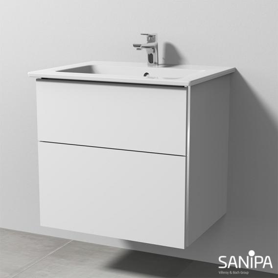 Sanipa 3way Waschtisch Venticello Waschtischunterschrank mit 2 Auszügen Front weiß soft / Korpus weiß soft, mit Griffleiste