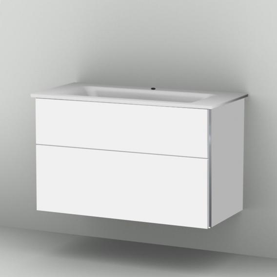 Sanipa 3way Waschtischunterschrank mit 2 Auszügen inkl. Glas-Waschtisch Front weiß soft/ Korpus weiß soft mit Griffleiste