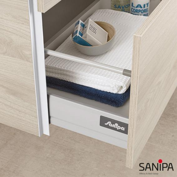 Sanipa 3way Waschtischunterschrank mit 4 Auszügen inkl. Glas-Waschtisch Front linde hell/ Korpus linde hell mit Griffleiste