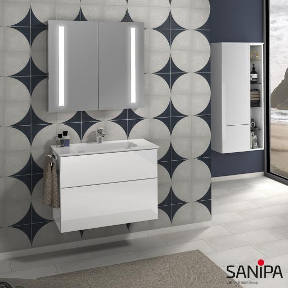 Sanipa 3way Waschtischunterschrank mit 2 Auszügen inkl. Keramik-Waschtisch Design Front weiß soft/ Korpus weiß soft mit Griffleiste