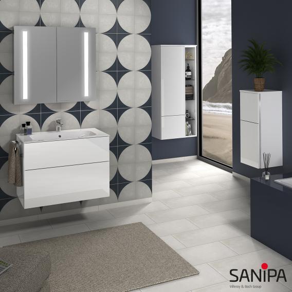 Sanipa 3way Waschtischunterschrank mit 2 Auszügen inkl. Keramik-Waschtisch Finion Front weiß soft/ Korpus weiß soft mit Griffleiste