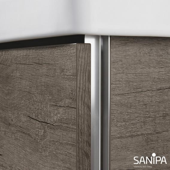 Sanipa 3way Waschtischunterschrank mit 2 Auszügen inkl. Keramik-Waschtisch Venticello Front weiß soft/ Korpus weiß soft mit Griffleiste