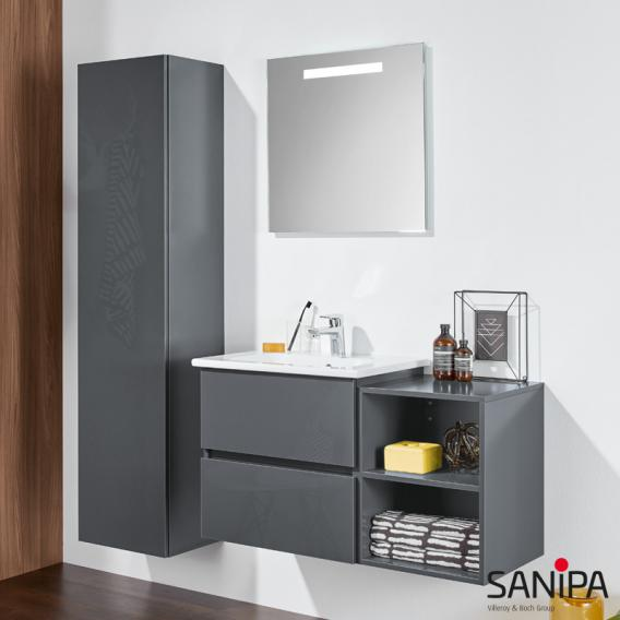Sanipa Solo One Euphoria Keramik-Waschtisch mit Waschtischunterschrank mit 2 Auszügen Front weiß glanz / Korpus weiß glanz