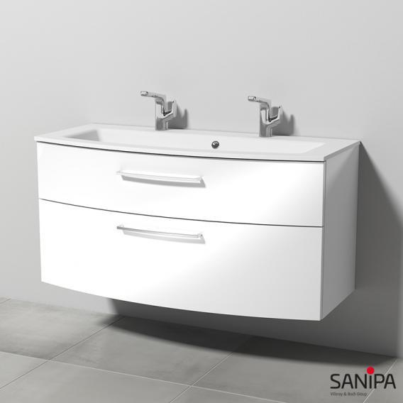 Sanipa Solo One Round Krita Stone-Waschtisch mit Waschtischunterschrank mit 2 Auszügen Front weiß hochglanz / Korpus weiß hochglanz