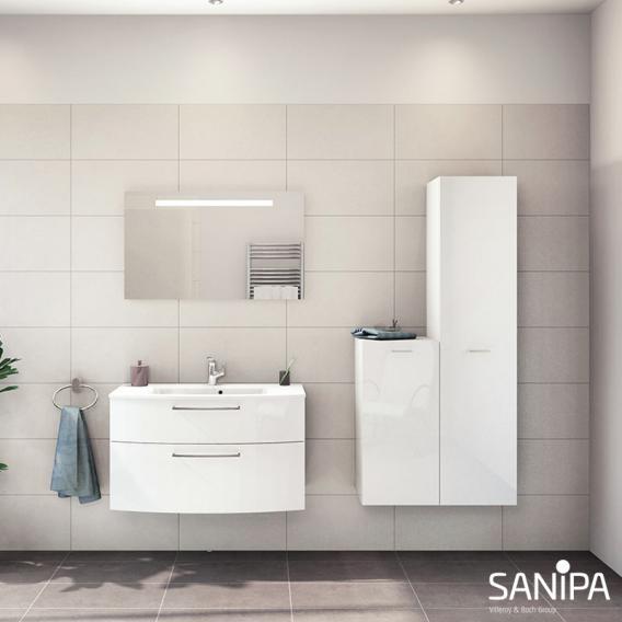 Sanipa Solo One Round Mittelschrank mit 1 Tür Front weiß hochglanz / Korpus weiß hochglanz
