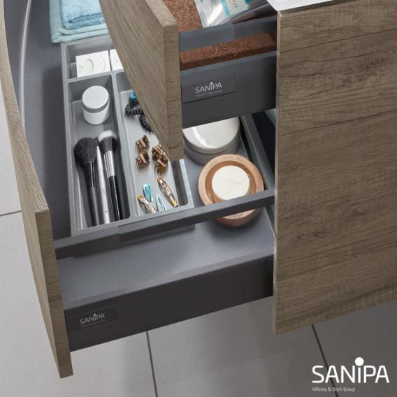 Sanipa TwigaGlas Glas-Waschtisch mit Waschtischunterschrank mit 2 Auszüge Front ulme impresso / Korpus ulme impresso