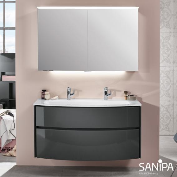 Sanipa TwigaGlas Glas-Waschtisch mit Waschtischunterschrank mit 2 Auszüge Front anthrazit glanz / Korpus anthrazit glanz